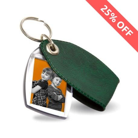 P2 Rectangular Blank Plastic Photo Insert Keyring with Pattern Green Cover - 35 x 24mm Thumbnail