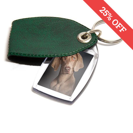 P2 Rectangular Blank Plastic Photo Insert Keyring with Pattern Green Cover - 35 x 24mm