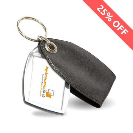 P2 Rectangular Blank Plastic Photo Insert Keyring with Pattern Grey Cover - 35 x 24mm Thumbnail