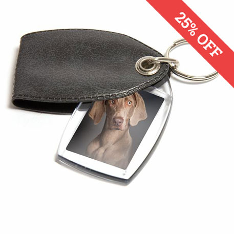 P2 Rectangular Blank Plastic Photo Insert Keyring with Pattern Grey Cover - 35 x 24mm