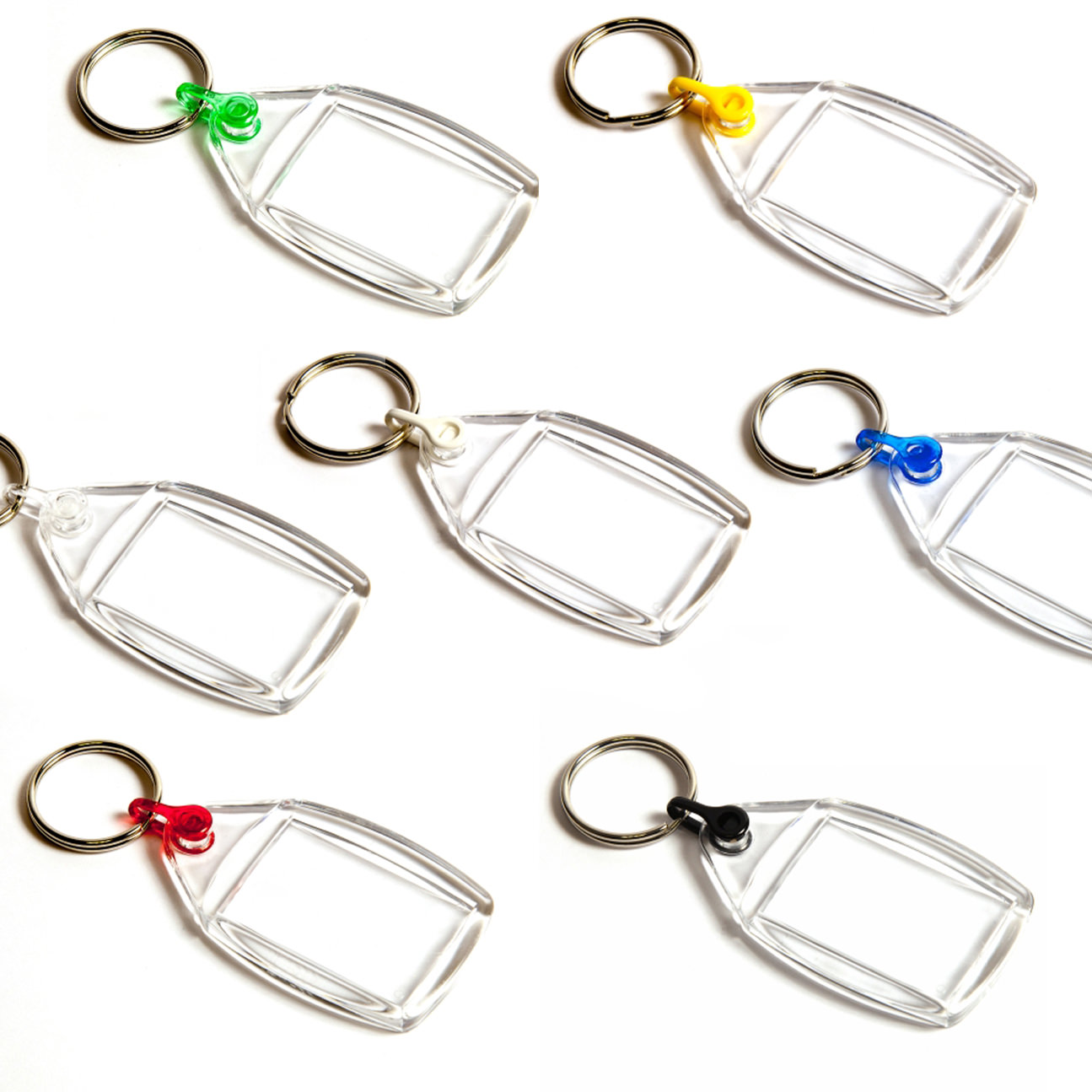 P502 Rectangular Blank Plastic Photo Insert Keyring with Mixed Coloured Connectors - 35 x 24mm