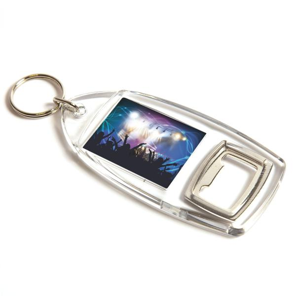 Bottle Opener Rectangular Blank Plastic Photo Insert Keyring - 40 x 32mm (R1-KEYRING)
