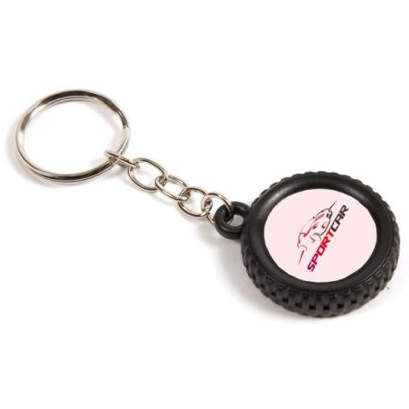 R25 Round Blank Plastic Photo Insert Wheel Tyre Keyring - 25mm