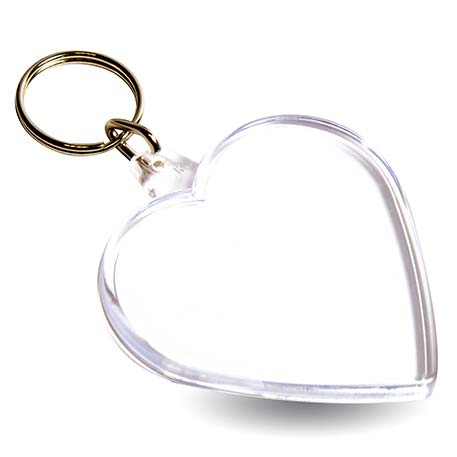Acrylic Plastic Blank Clear Keyring Heart Shape Photo Key Rings UK
