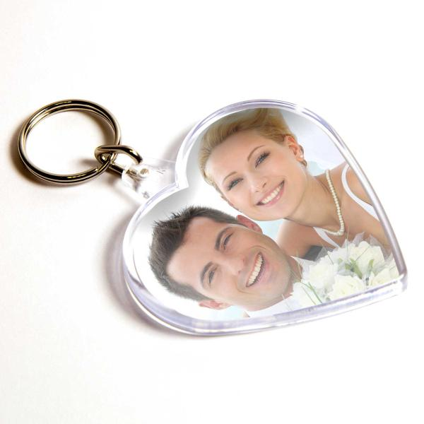 S Heart Shaped Blank Plastic Photo Insert Keyring - 58 x 50mm