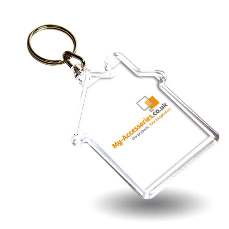 S House Shaped Blank Plastic Photo Insert Keyring - 59 x 56mm Thumbnail