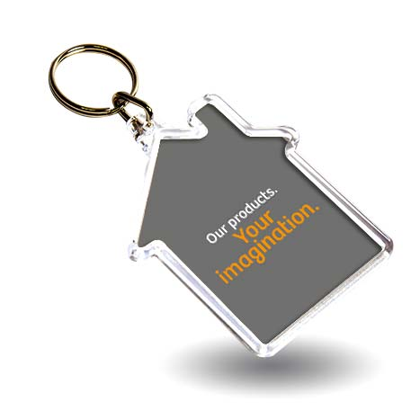 S House Shaped Blank Plastic Photo Insert Keyring - 59 x 56mm