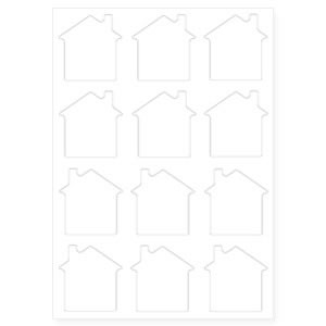 59mm x 56mm S-HOUSE Shaped Keyring Pre-Cut Paper Inserts (S-HOUSE-PAPER)
