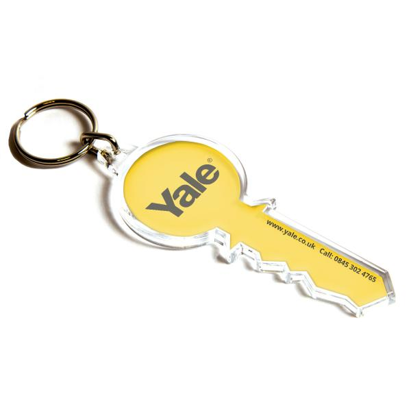 S Key Shaped Blank Plastic Photo Insert Keyring - 79 x 32mm
