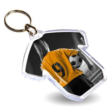 S Shirt Shaped Blank Plastic Photo Insert Keyring - 60 x 38mm