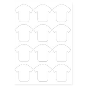 60mm x 38mm S-SHIRT Shaped Keyring Pre-Cut Paper Inserts (S-SHIRT-PAPER) Thumbnail