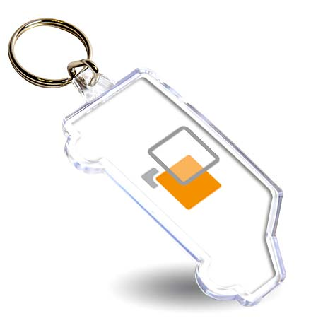 S Van Shaped Blank Plastic Photo Insert Keyring - 69 x 29mm