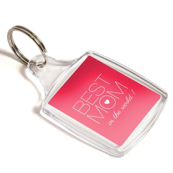 S5 Rectangular Blank Plastic Photo Insert Keyring - 40 x 32mm