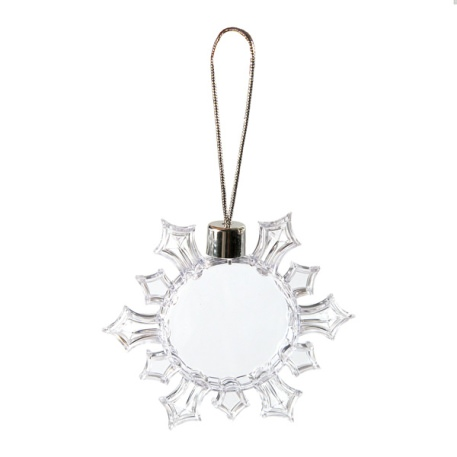 53mm Round Blank Plastic Snowflake Tree Decoration (SF1) Thumbnail