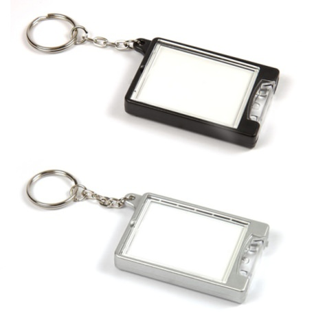 TF1 Rectangular Blank Plastic Photo Insert Torch Keyring in Mixed Colours - 45mm x 35mm