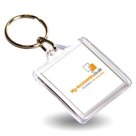 U1 Square Blank Plastic Photo Insert Keyring - 32mm Thumbnail