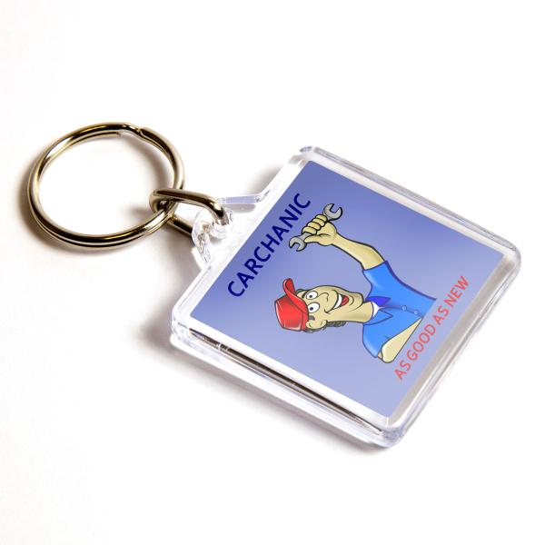 U1 Square Blank Plastic Photo Insert Keyring - 32mm