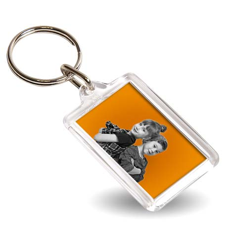 Y1 Rectangular Blank Plastic Photo Insert Keyring - 35 x 24mm