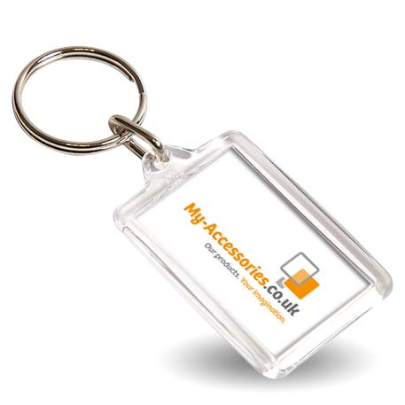 Y1 Rectangular Blank Plastic Photo Insert Keyring - 35 x 24mm Thumbnail