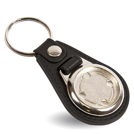 MD25 Round Blank Medallion PU Leather Photo Insert Keyring - 25mm Thumbnail