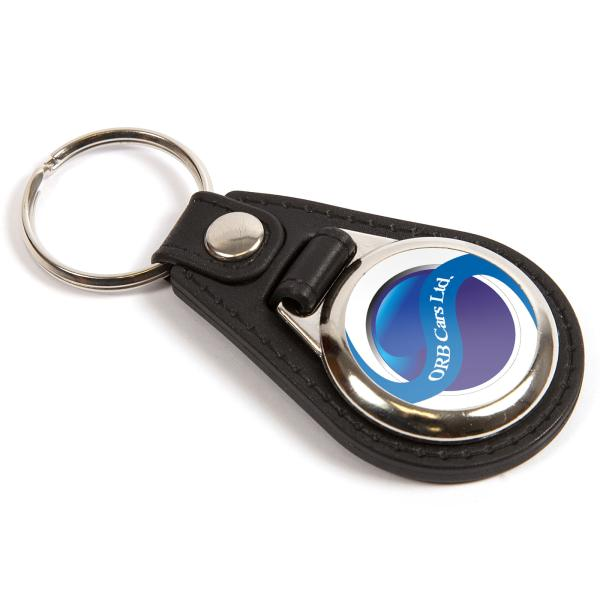 MD25 Round Blank Medallion PU Leather Photo Insert Keyring - 25mm