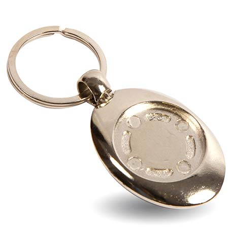 MZ-25 Round Blank Metal Photo Insert Keyring with Shopping Trolley Euro Coin - 25mm Thumbnail