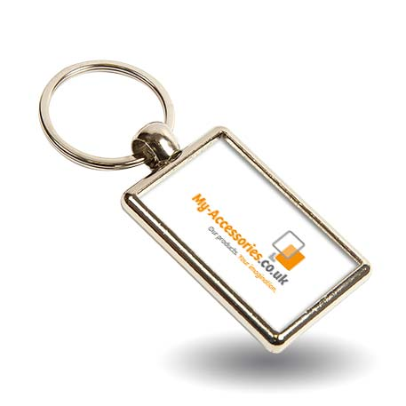 ML-40 Rectangular Blank Metal Photo Insert Keyring - 40 x 25mm