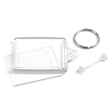 A502 Rectangular Blank Plastic Photo Insert Keyring with Clear Connector - 45 x 35mm Thumbnail