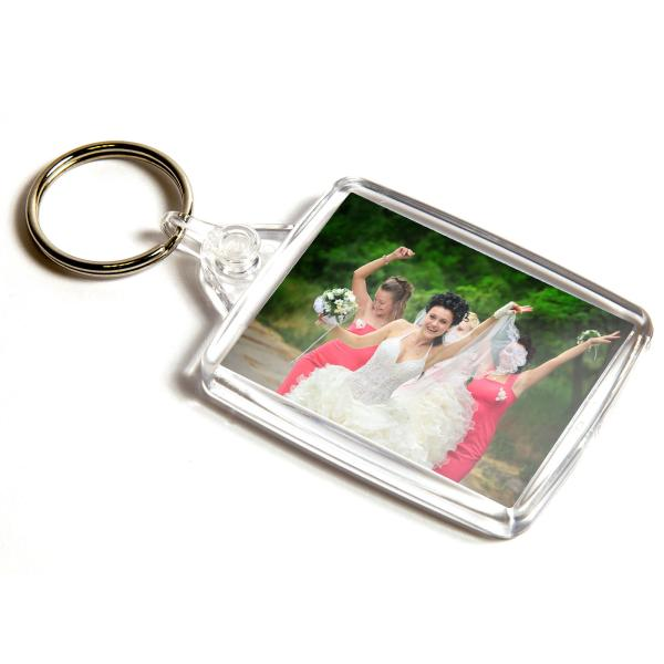 A502 Rectangular Blank Plastic Photo Insert Keyring with Clear Connector - 45 x 35mm