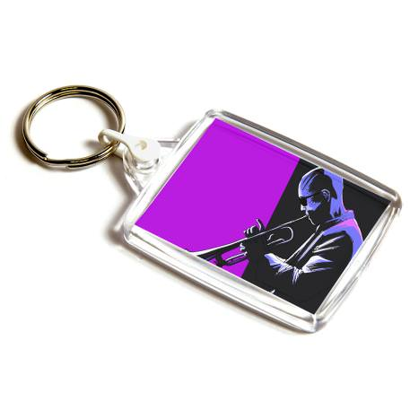 A502 Rectangular Blank Plastic Photo Insert Keyring with White Connector - 45 x 35mm