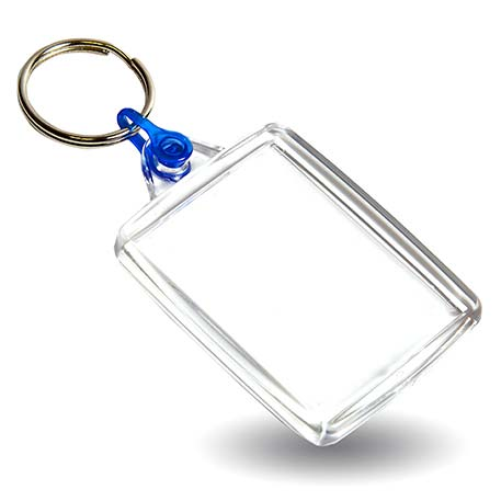A502 Rectangular Blank Plastic Photo Insert Keyring with Blue Connector - 45 x 35mm Thumbnail