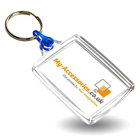 A502 Rectangular Blank Plastic Photo Insert Keyring with Blue Connector - 45 x 35mm