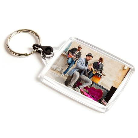 A502 Rectangular Blank Plastic Photo Insert Keyring with Black Connector - 45 x 35mm
