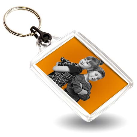 A502 Rectangular Blank Plastic Photo Insert Keyring with Black Connector - 45 x 35mm Thumbnail