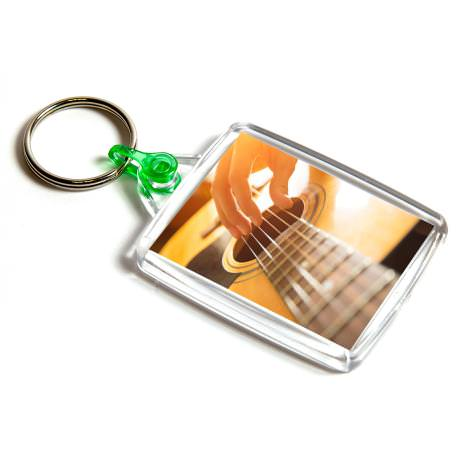 A502 Rectangular Blank Plastic Photo Insert Keyring with Green Connector - 45 x 35mm