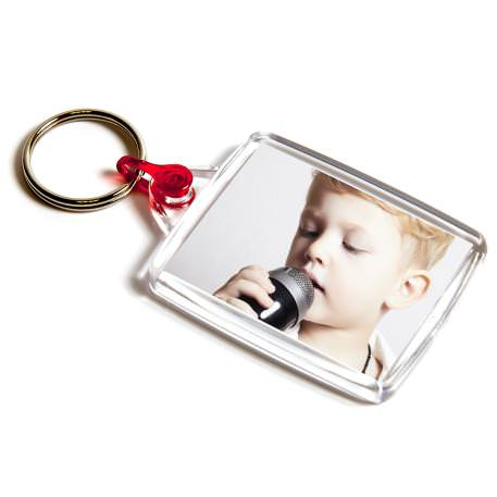 A502 Rectangular Blank Plastic Photo Insert Keyring with Red Connector - 45 x 35mm