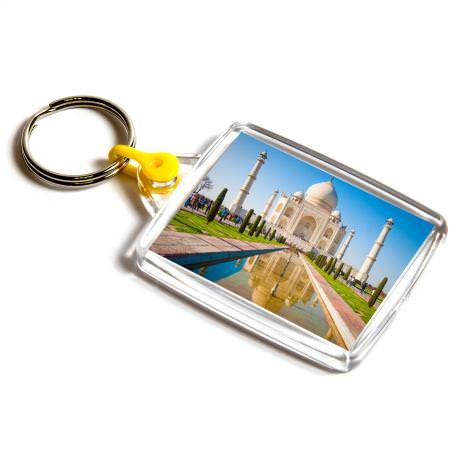 A502 Rectangular Blank Plastic Photo Insert Keyring with Yellow Connector - 45 x 35mm