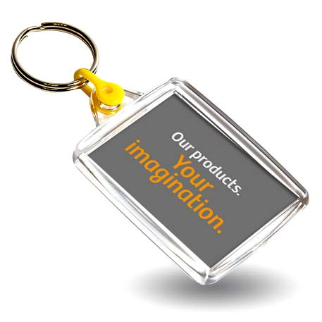 A502 Rectangular Blank Plastic Photo Insert Keyring with Yellow Connector - 45 x 35mm Thumbnail