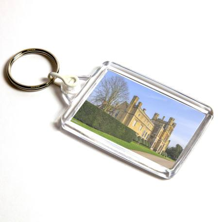 C102 Rectangular Blank Plastic Photo Insert Keyring with White Connector - 50 x 35mm