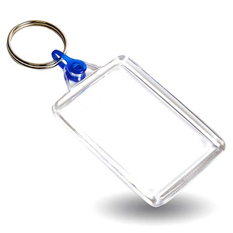 C102 Rectangular Blank Plastic Photo Insert Keyring with Blue Connector - 50 x 35mm Thumbnail