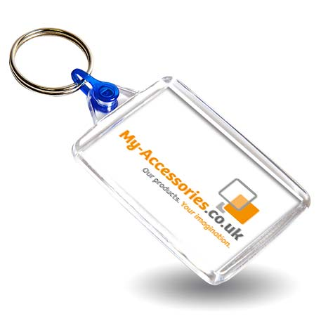 C102 Rectangular Blank Plastic Photo Insert Keyring with Blue Connector - 50 x 35mm