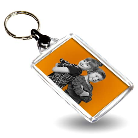 C102 Rectangular Blank Plastic Photo Insert Keyring with Black Connector - 50 x 35mm
