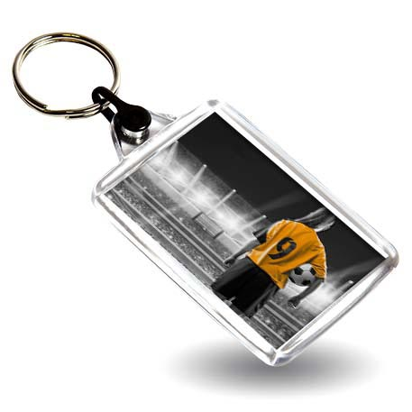 C102 Rectangular Blank Plastic Photo Insert Keyring with Black Connector - 50 x 35mm Thumbnail