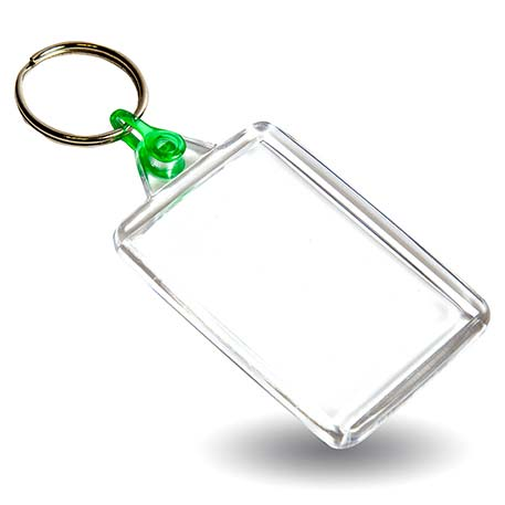 C102 Rectangular Blank Plastic Photo Insert Keyring with Green Connector - 50 x 35mm Thumbnail