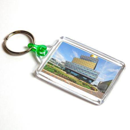 C102 Rectangular Blank Plastic Photo Insert Keyring with Green Connector - 50 x 35mm