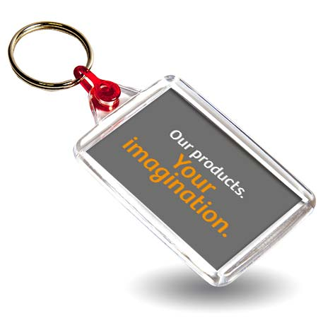 C102 Rectangular Blank Plastic Photo Insert Keyring with Red Connector - 50 x 35mm Thumbnail