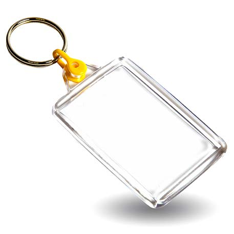 C102 Rectangular Blank Plastic Photo Insert Keyring with Yellow Connector - 50 x 35mm Thumbnail