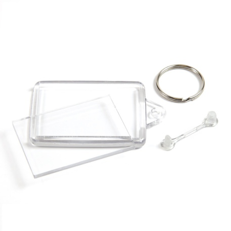 C102-CS Rectangular Blank Plastic Cross Stitch Insert Keyring with Clear Connector - 50 x 35mm Thumbnail