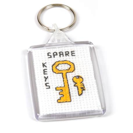 C102-CS Rectangular Blank Plastic Cross Stitch Insert Keyring with Clear Connector - 50 x 35mm