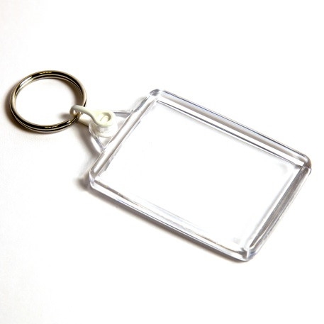 C102-CS Rectangular Blank Plastic Cross Stitch Insert Keyring with White Connector - 50 x 35mm